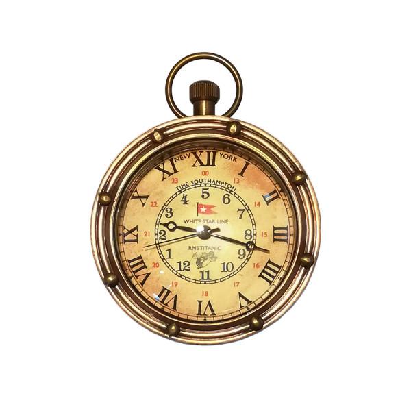 Taschenuhr Eye of Time Bullauge, Bronze