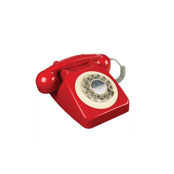 746 phone (Rot) mit Wählscheiben Tastatur