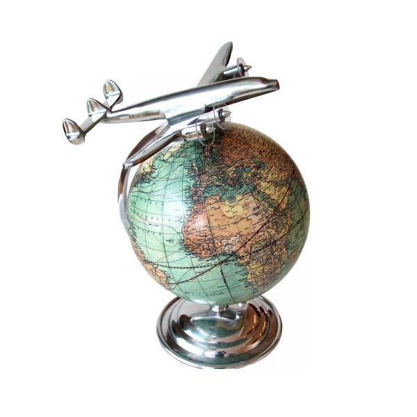 Globus mit Flugzeug On top of the world
