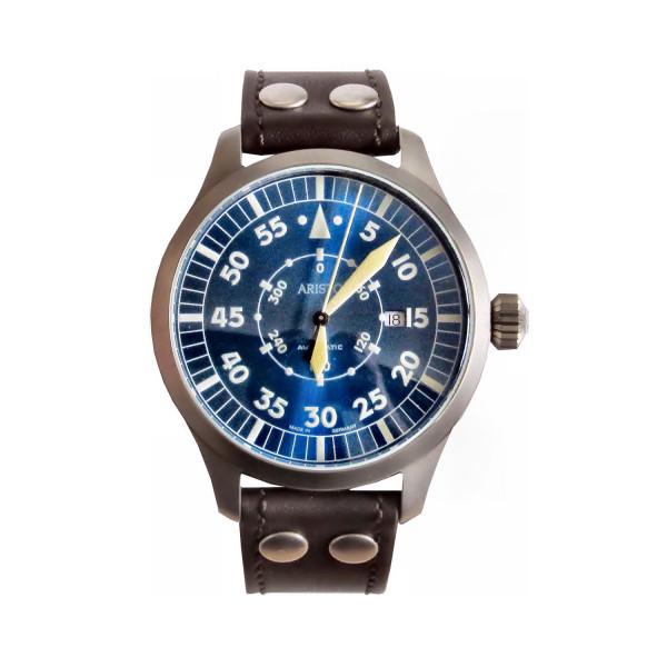Aristo Fliegeruhr Blaue 47 - Navigator Edelstahl sandgestrahlt