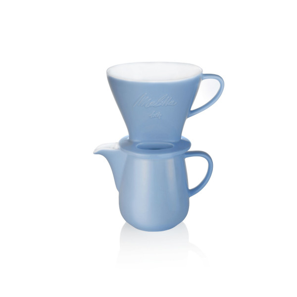 Kaffeefilterset Porzellan: Kanne Eisblau