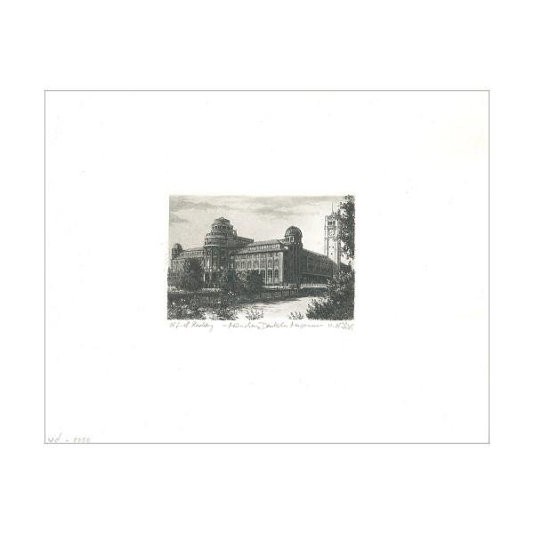 Radierung Deutsches Museum - schwarz-weiß