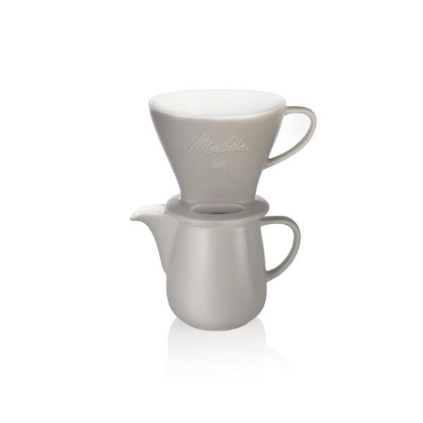 Kaffeefilterset Porzellan: Kanne Grau